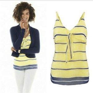 CAbi Stripe Yellow Navy Knot Cami M navy #5207